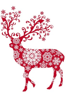 Christmas deer with ornaments and snowflakes, vector