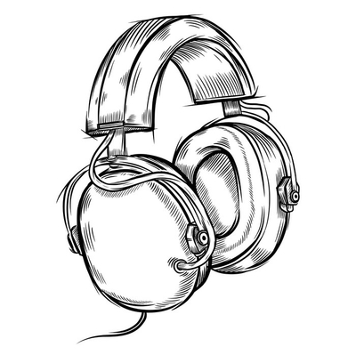 Hand-drawn headphones