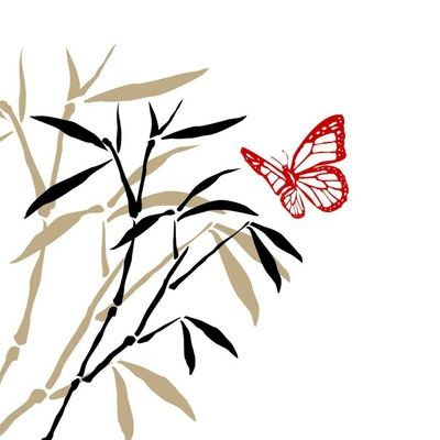 bamboo branches and butterfly