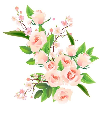 Vector bunch of pink roses