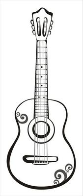 guitar sketch in black lines