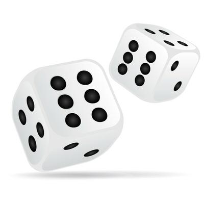 dés de jeu blanc. Double six