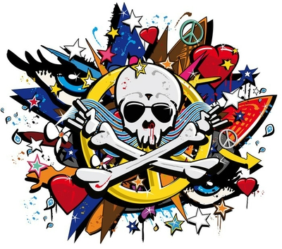 Graffiti Skull and Bones skeletonl pop art illustration