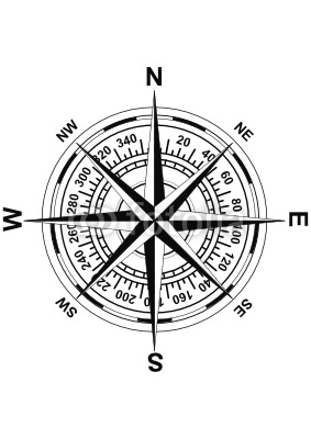 Vector antique (old - style) magnetic compass