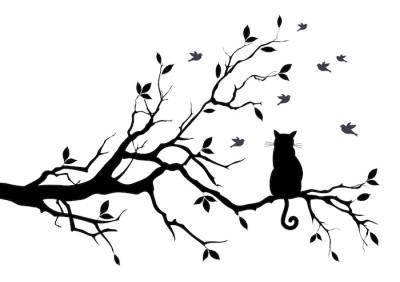 Kot na drzewie z ptakami, wektor