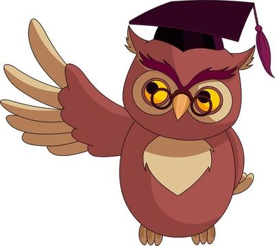 Cartoon Wise Owl with graduation cap