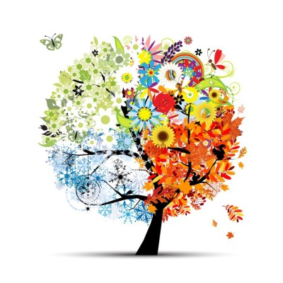 Four seasons - spring, summer, autumn, winter. Art tree