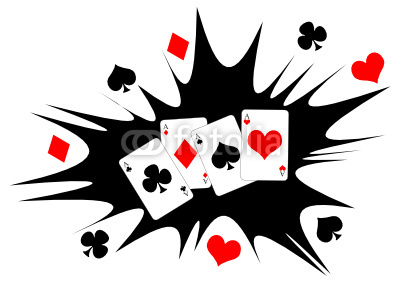Four aces poker hand over black and white  background