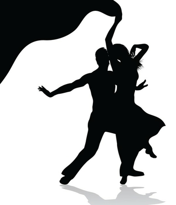 Dancing couple silhouette