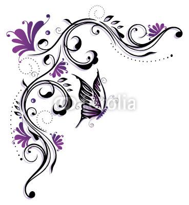 Ranke, flora, Blumen, Blüten, Schmetterling, lila, violett
