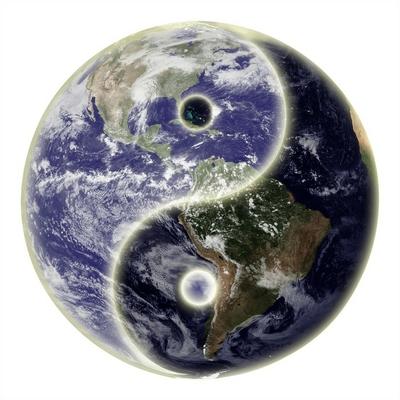 Yin and yang symbol and earth