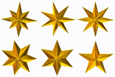 Set with gold stars  on white background