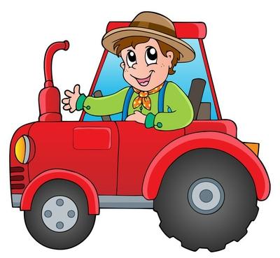Cartoon farmer on tractor