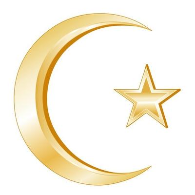 Islam Symbol, gold Crescent and Star, icons of Islamic faith