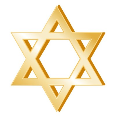 Judaism Symbol, gold Star of David, icon of the Jewish faith