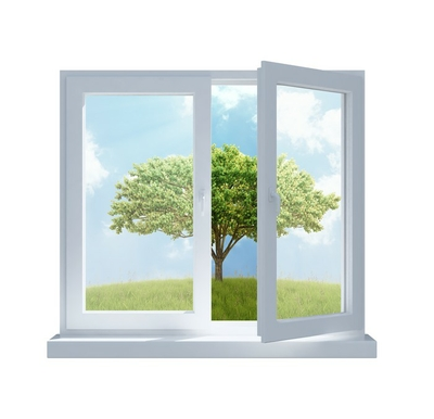 meadow with a tree viewed through an opened window