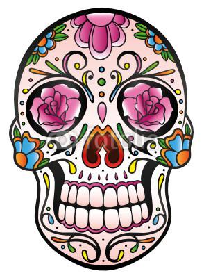 Mexican Sugar Skull, Totenkopf, bunt, vector