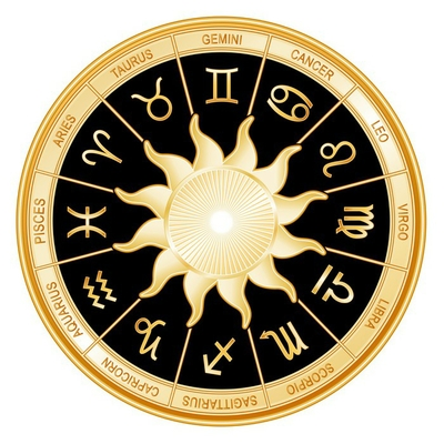 Horoscope Sun Signs, twelve gold Zodiac symbols, black mandala