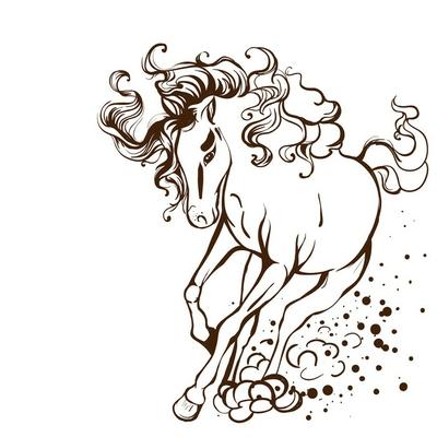 running horse - vector tattoo illustration