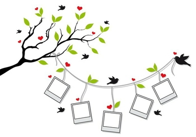 tree with photo frames and birds, vector