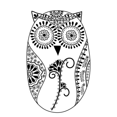 Abstract floral owl, vector