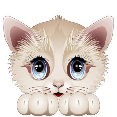 Cute Kitten Cartoon Character-Gatto Gattino Cucciolo-Vector