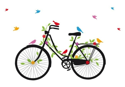 old bicycle with birds, vector