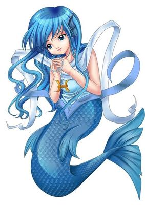 Manga style illustration of zodiac symbol, Pisces