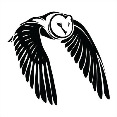 Isolated owl in flight - vector illustration