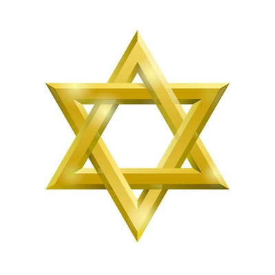 Golden David star on the white background