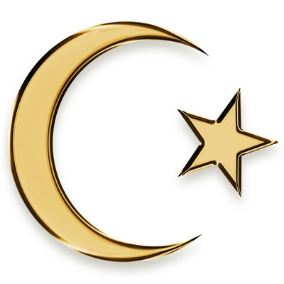 golden star and crescent islamic emblem