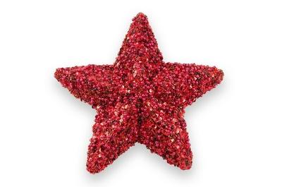 Roter Stern aus Perlen und Pailetten