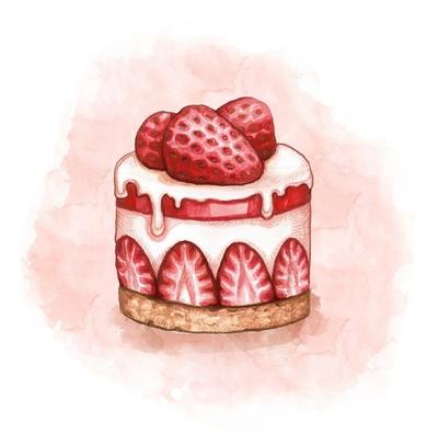 Illustration of a strawberry cream cake