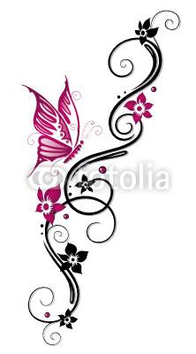 Ranke, flora, Blüten, Schmetterlinge, schwarz, pink