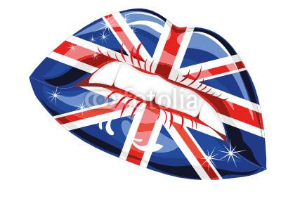 Great Britain flag lipstick on sensuality lips