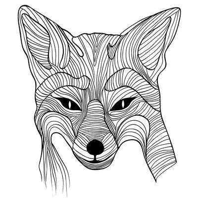 Fox zwierzęcy symbol szkic