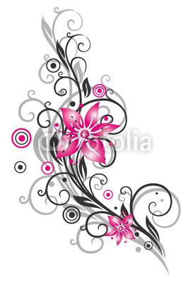 Blume, Ranke, filigran, floral, schwarz pink