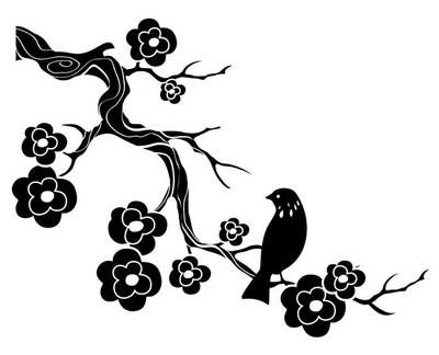 Bird on twig with flowers