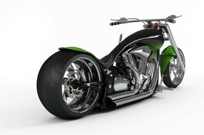 macho  custom bike or motorcycle from rear view