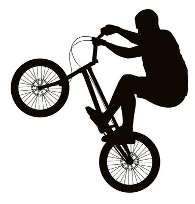 Bike trick detailed vector silhouette. Sports design
