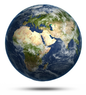 Planet Earth white isolated