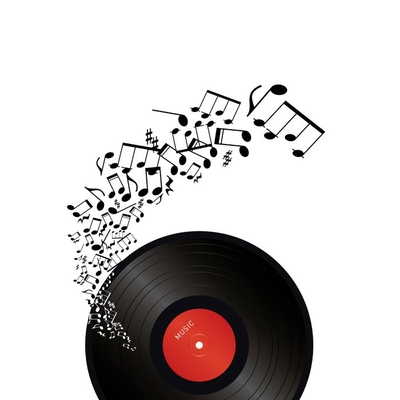 vinyl with music notes on white background