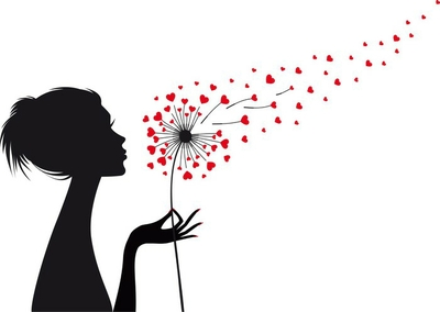woman and dandelion with red hearts, vector