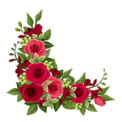 Red roses corner. Vector illustration.