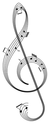 isolated abstract clef from music staff with notes