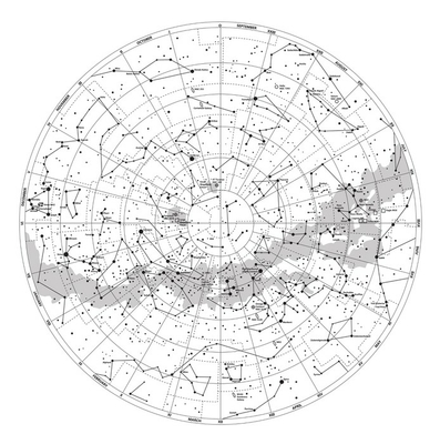High detailed sky map of Southern hemisphere with names