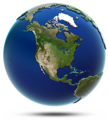 America global map - North America