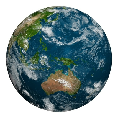 Planet earth with clouds. Australia, Oceania and part of Asia.