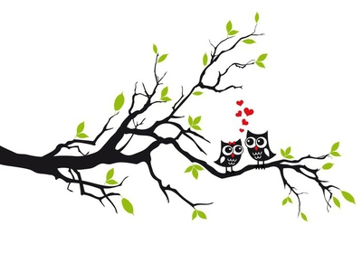 Cute owls in love on tree, vector