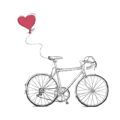 Vintage Valentines Illustration with Bicycle and Heart Baloon